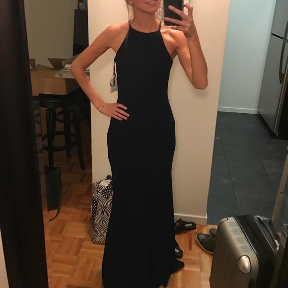 Calvin Klein Dresses Navy Crepe Halter Gown Poshmark